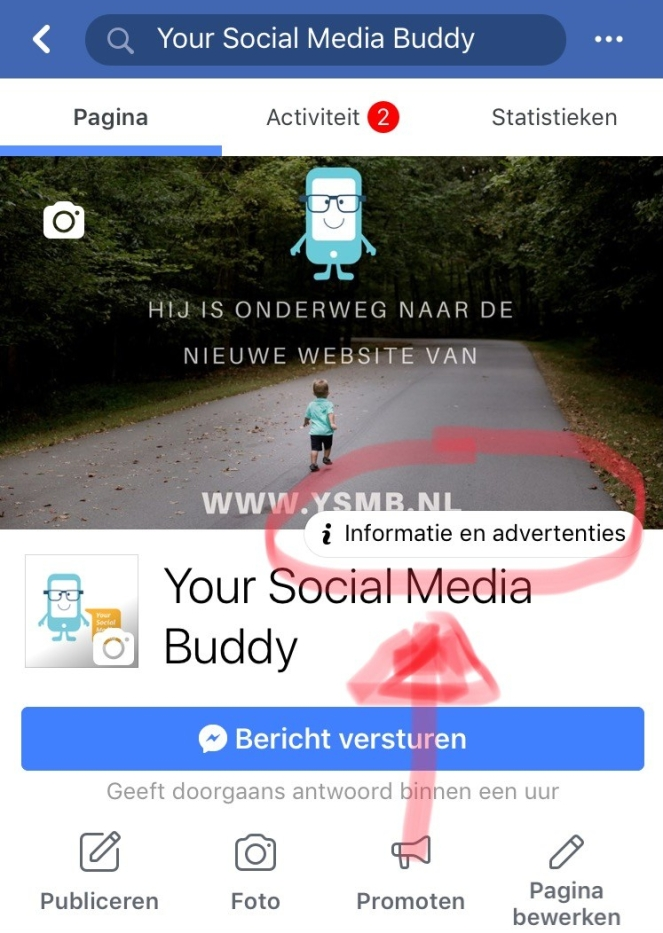 3 Things Social over de knop Informatie en advertenties op Facebook
