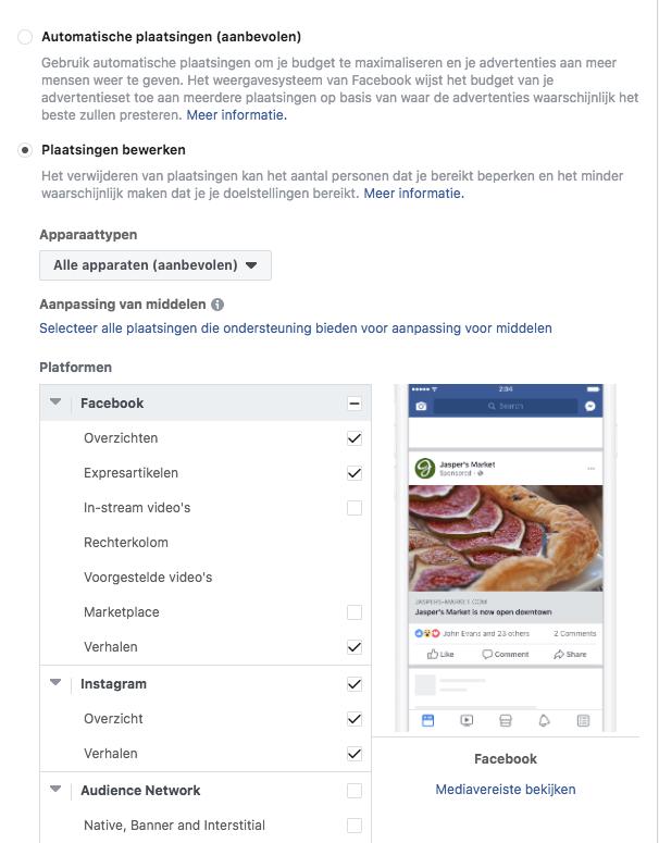 Schermprints Facebook ad manager in blog