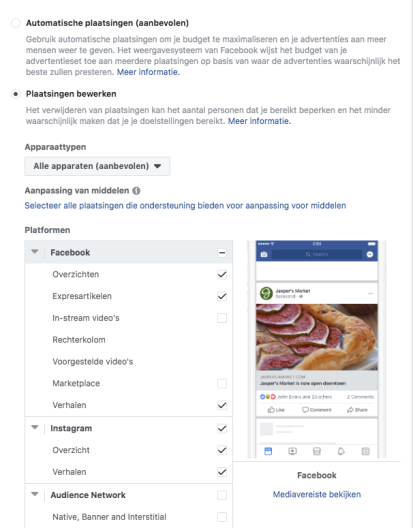 Adverteren in Facebook Stories
