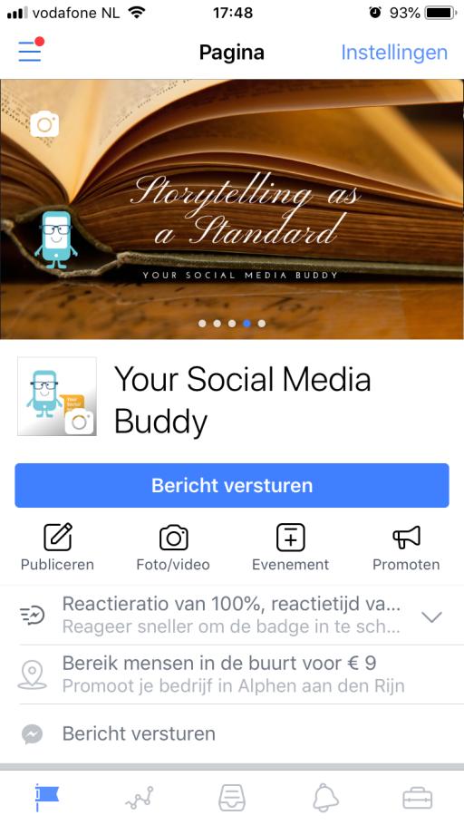 Schermprint Paginabeheer app van Facebook in 3 Things Social over het beheren van Facebook pagina's met je mobiele telefoon